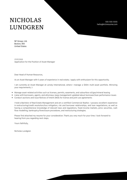 Asset Manager Cover Letter Example