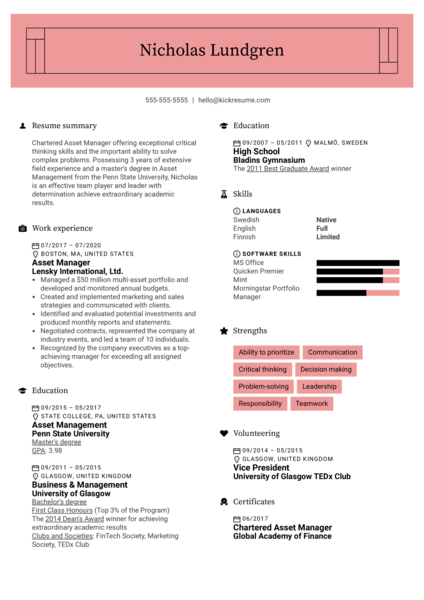Asset Manager Resume Sample