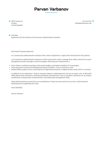 Construction Administrative Assistant Cover Letter Example