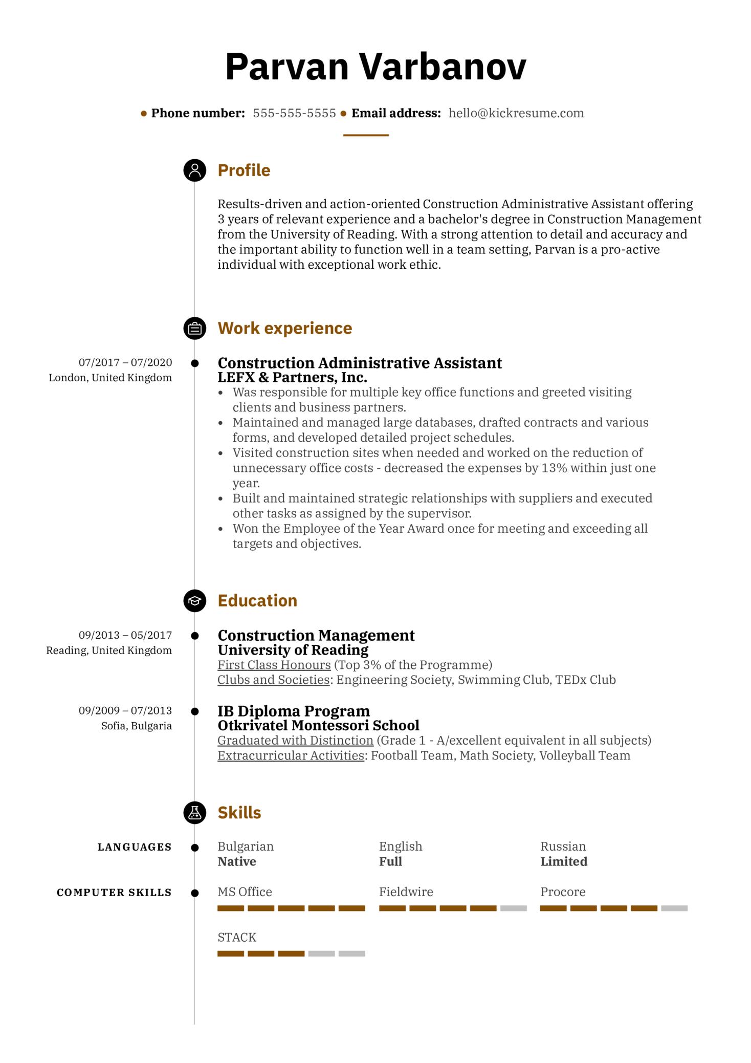 Construction Administrative Assistant Resume Sample (časť 1)
