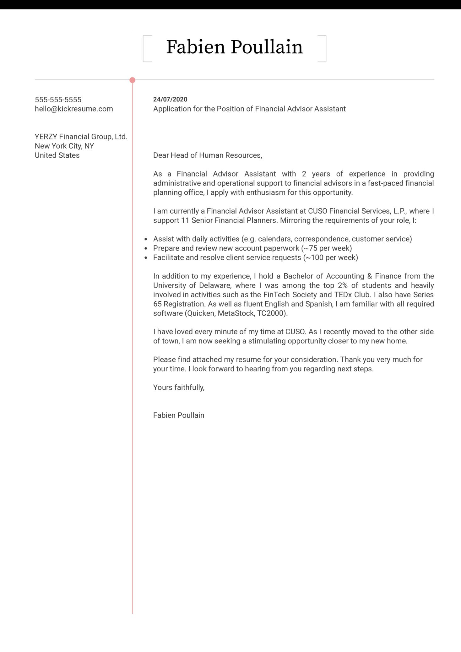 Financial Advisor Assistant Cover Letter Sample