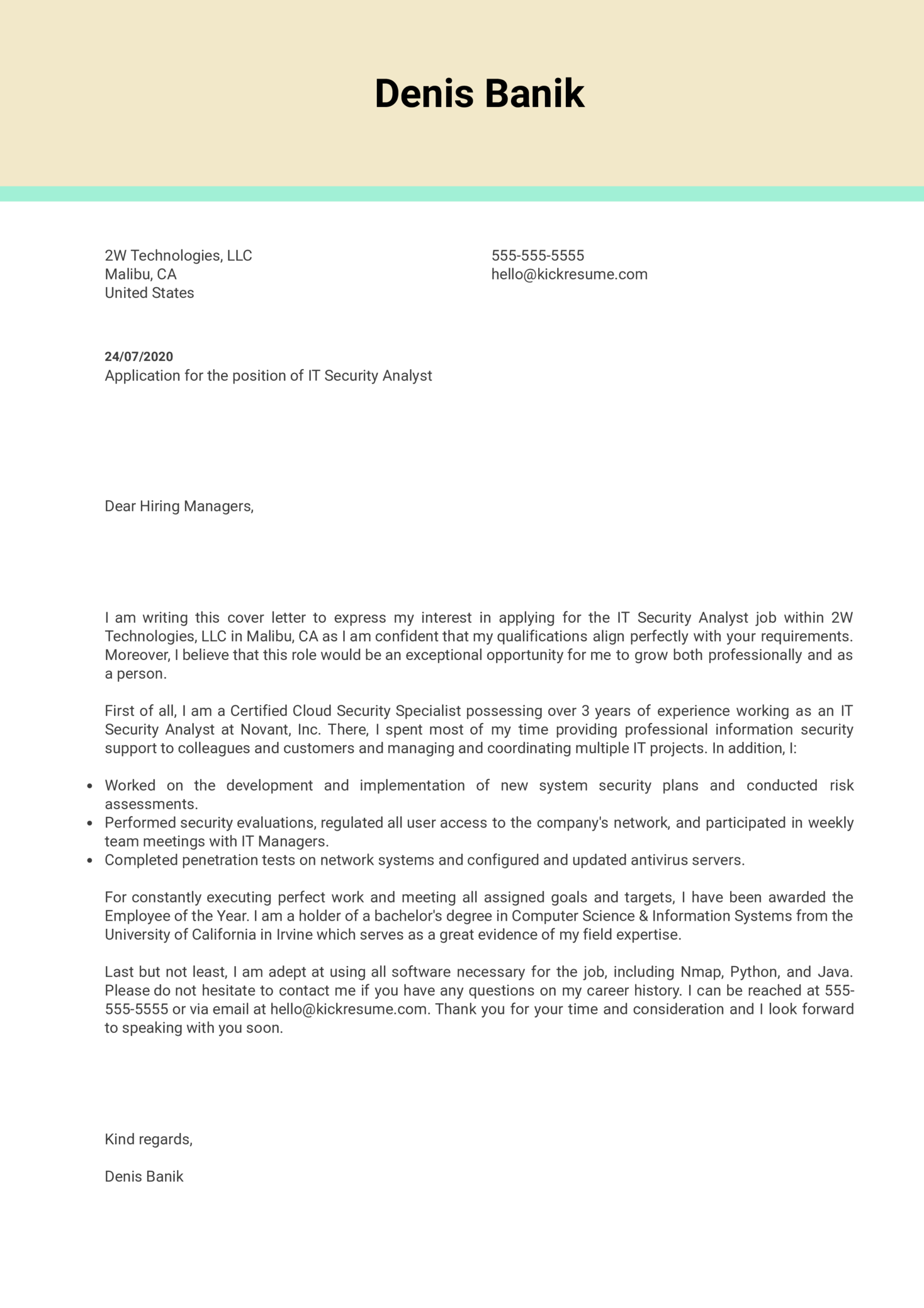 IT Security Analyst Cover Letter Example