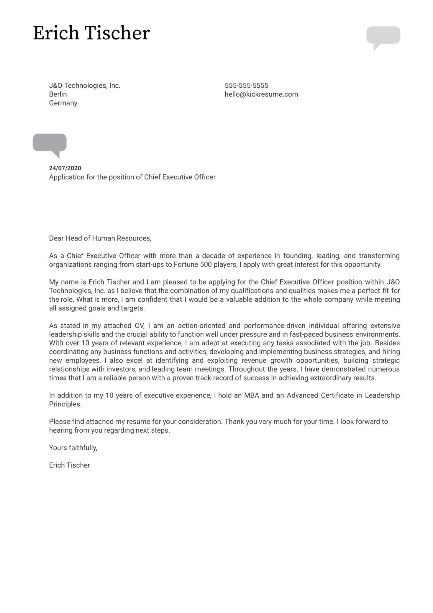 CEO Cover Letter Example