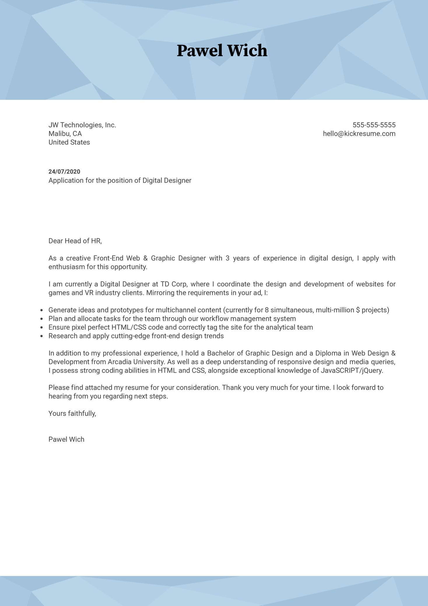 Digital Designer Cover Letter Example