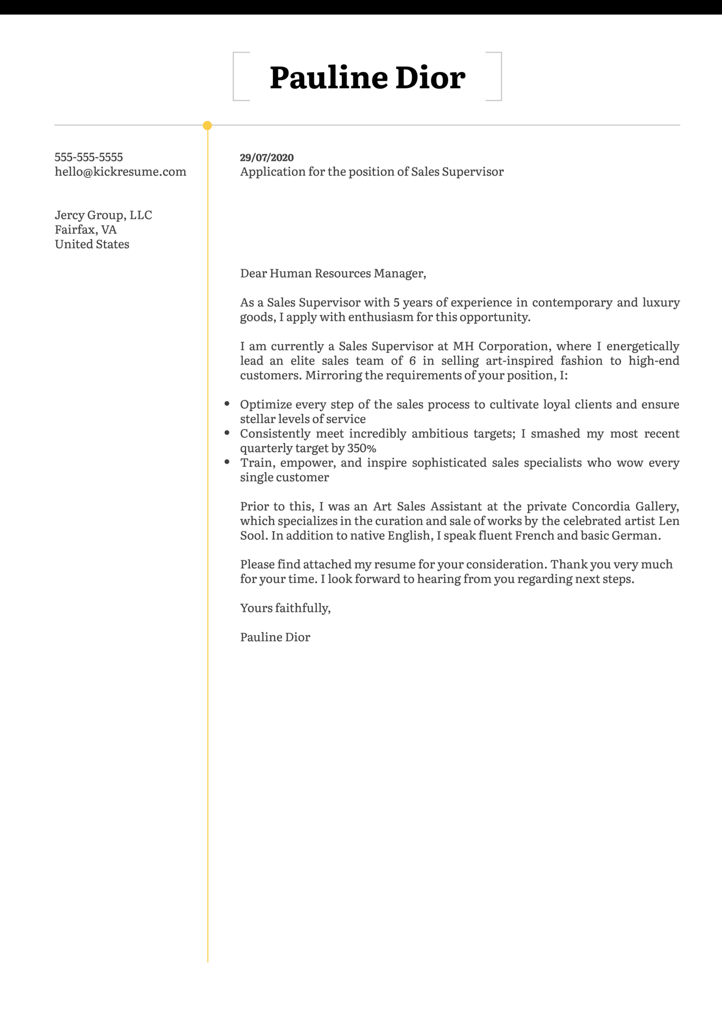 Sales Supervisor Cover Letter Example