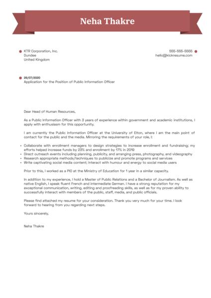 Public Information Officer Cover Letter Sample
