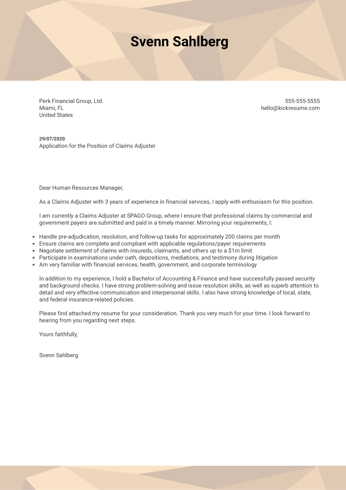 Claim Adjuster Cover Letter Example