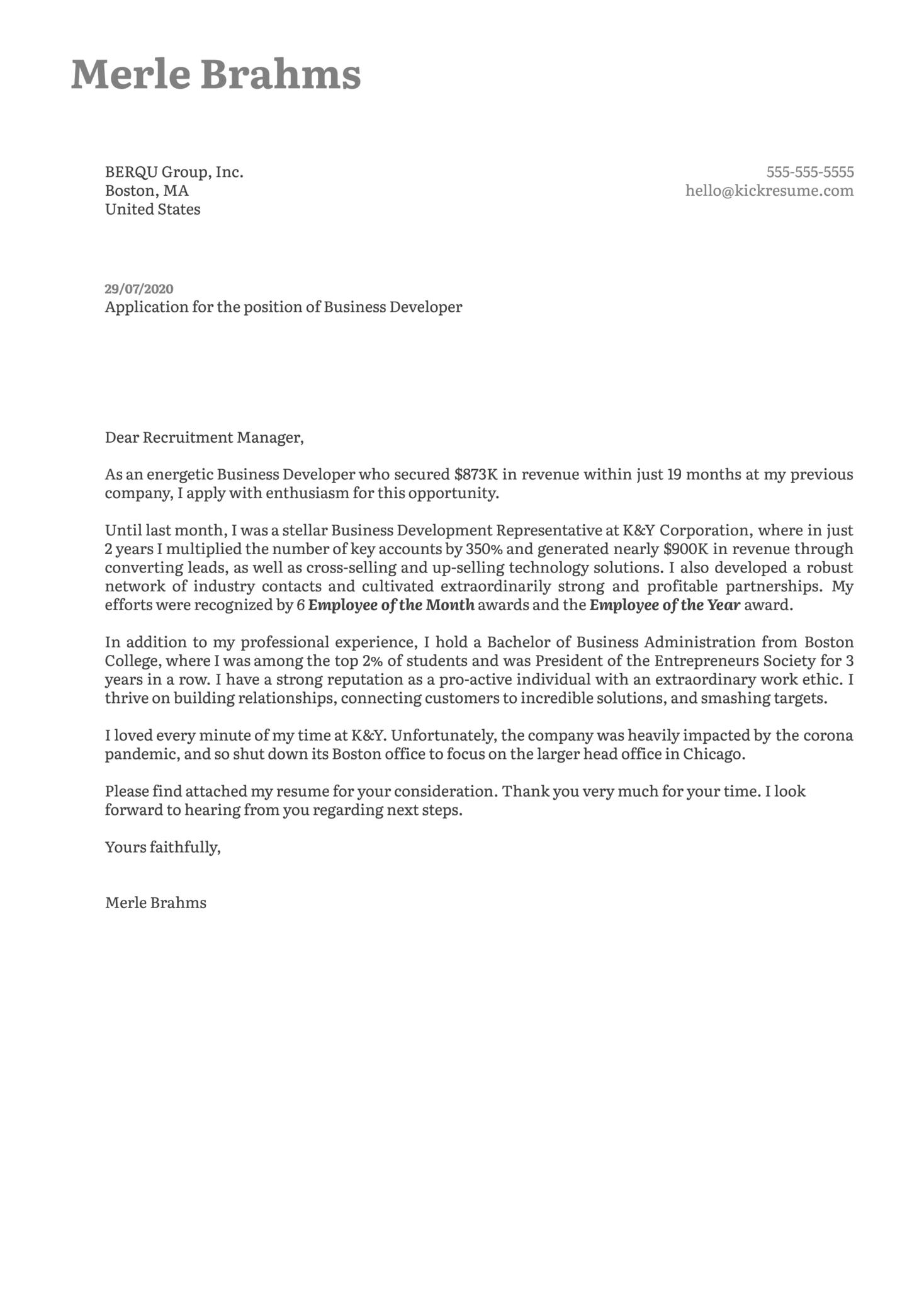 Business Developer Cover Letter Example
