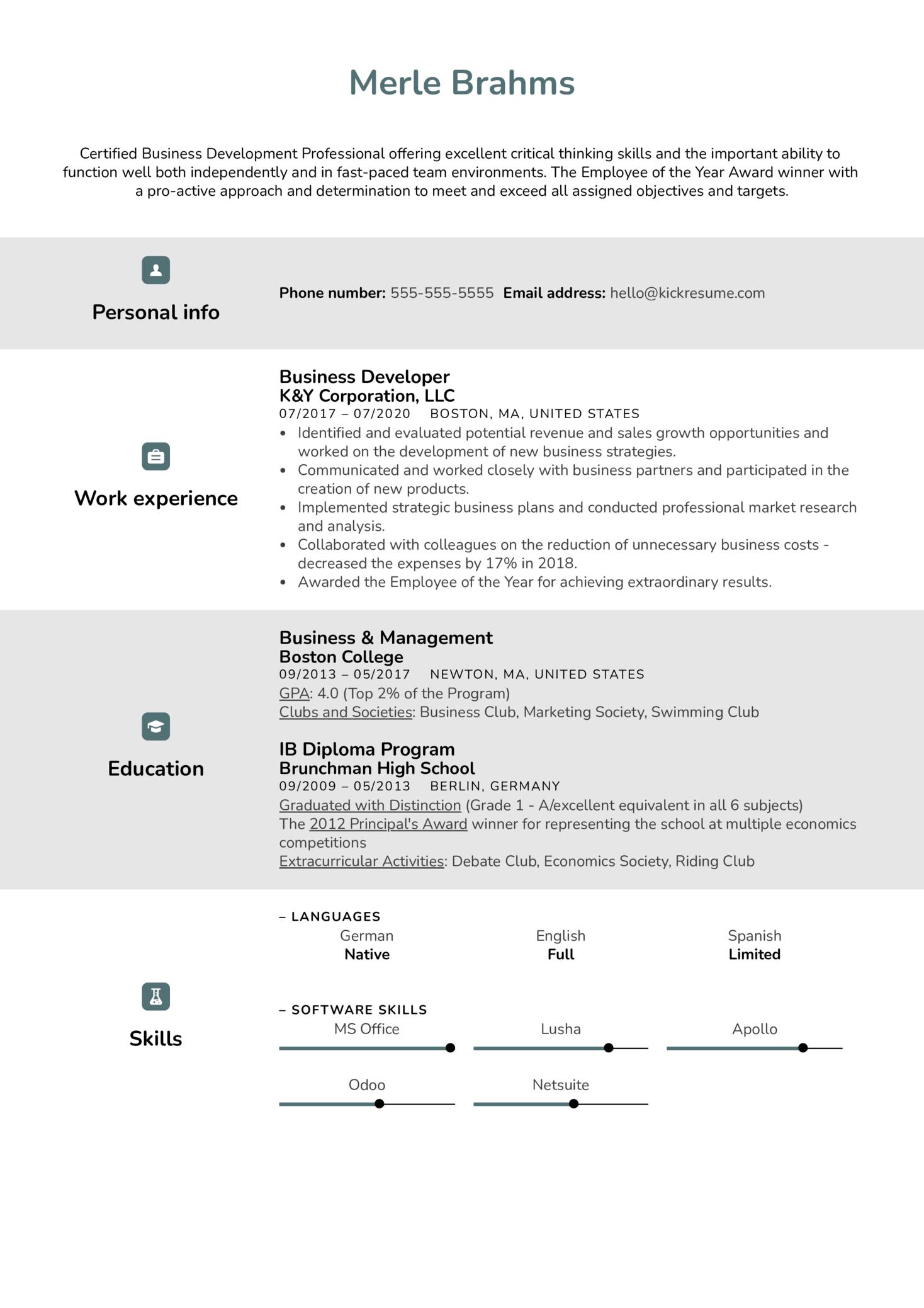 Business Developer Resume Example (Part 1)