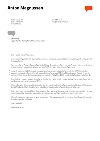 Account Specialist Cover Letter Example
