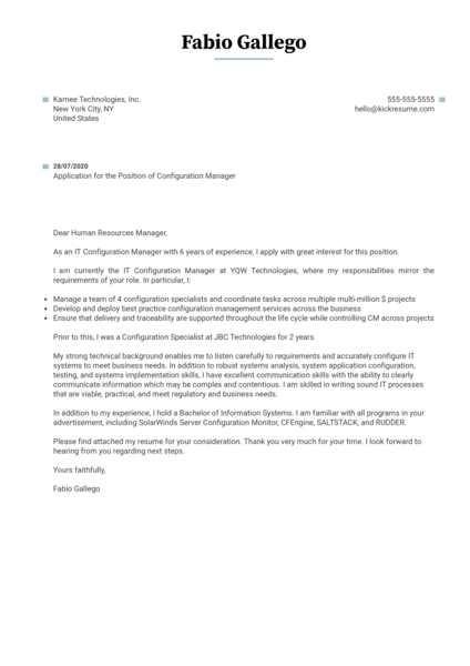 Configuration Manager Cover Letter Sample