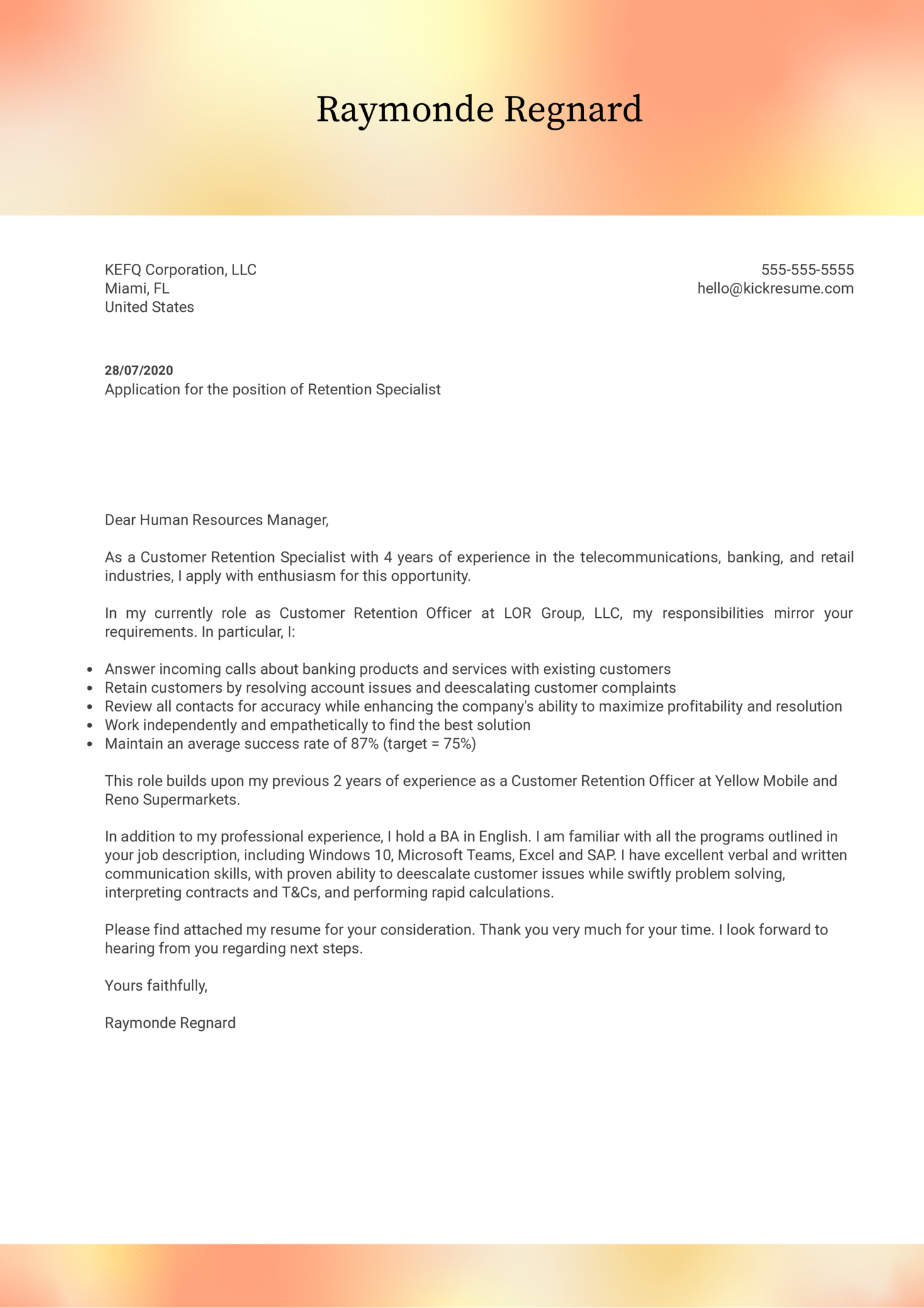 Retention Specialist Cover Letter Example
