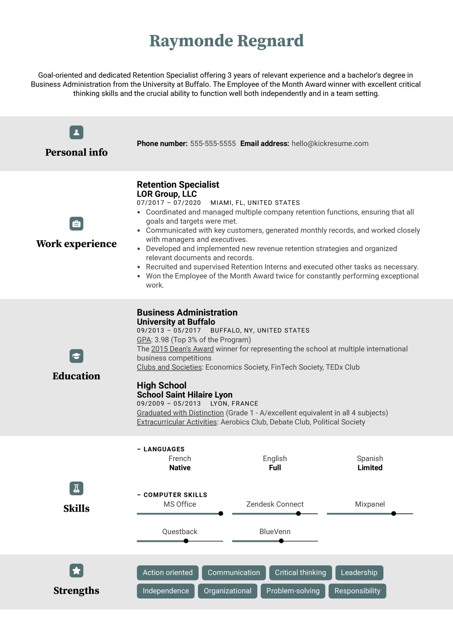 Retention Specialist Resume Example (Parte 1)
