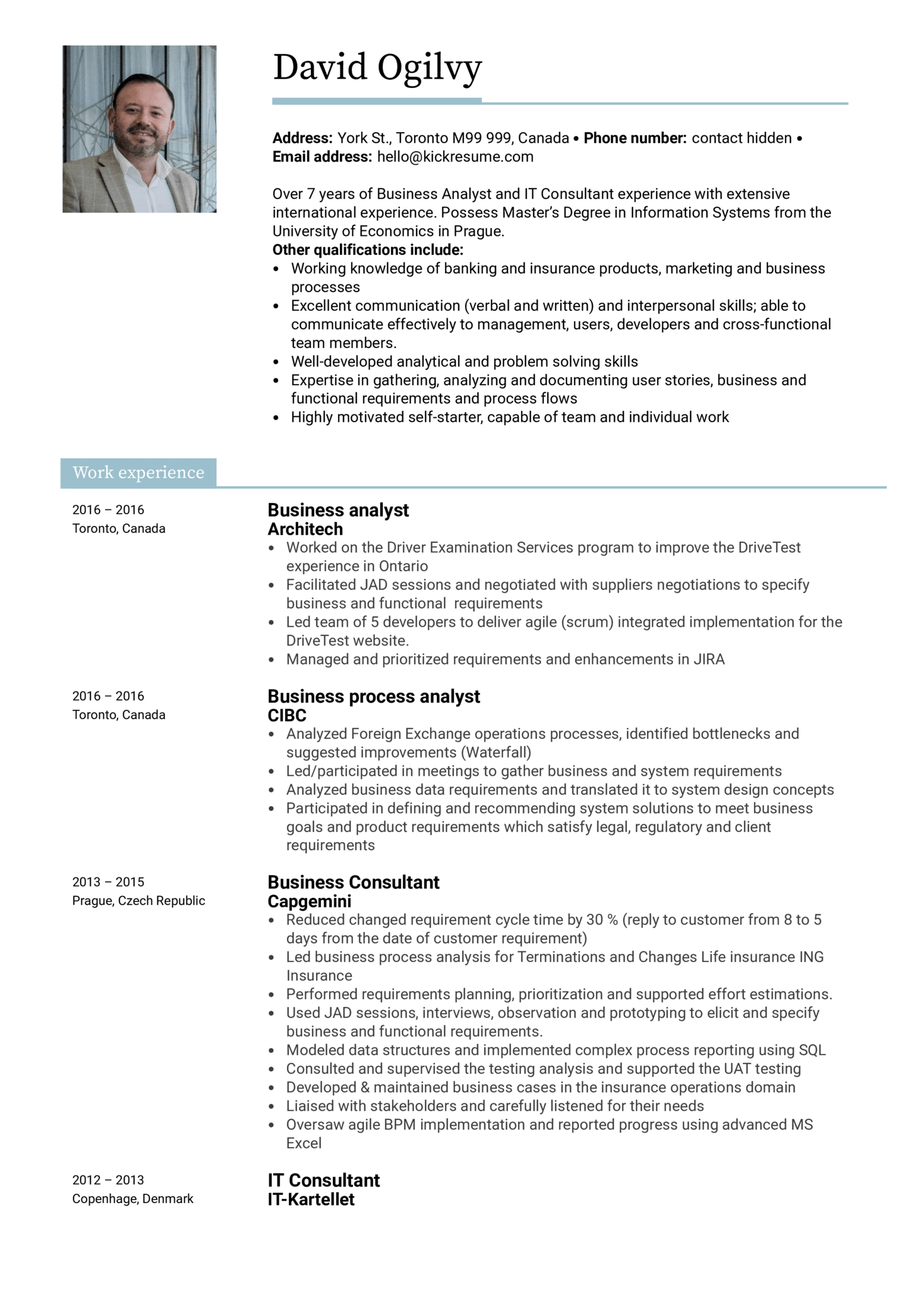 Scotiabank Business Analyst Resume Sample (Part 1)