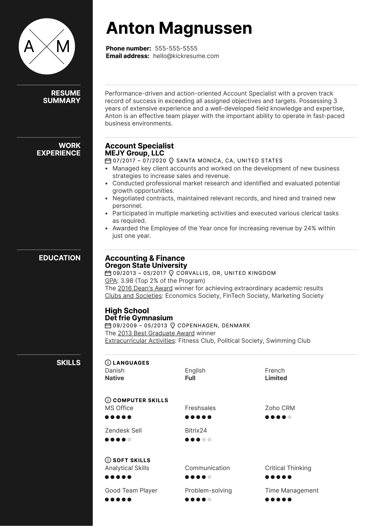 Account Specialist Resume Example (Part 1)