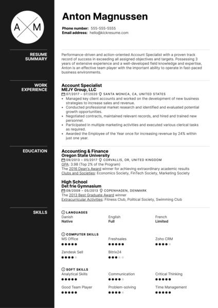 Account Specialist Resume Example