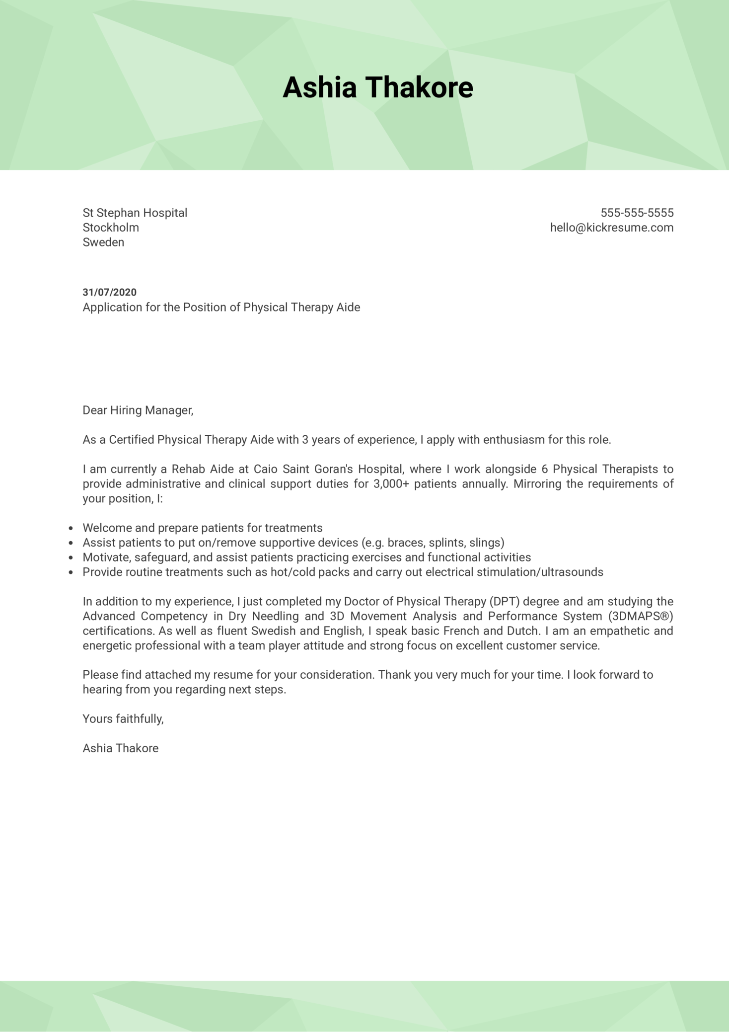 Physical Therapy Aide Cover Letter Example