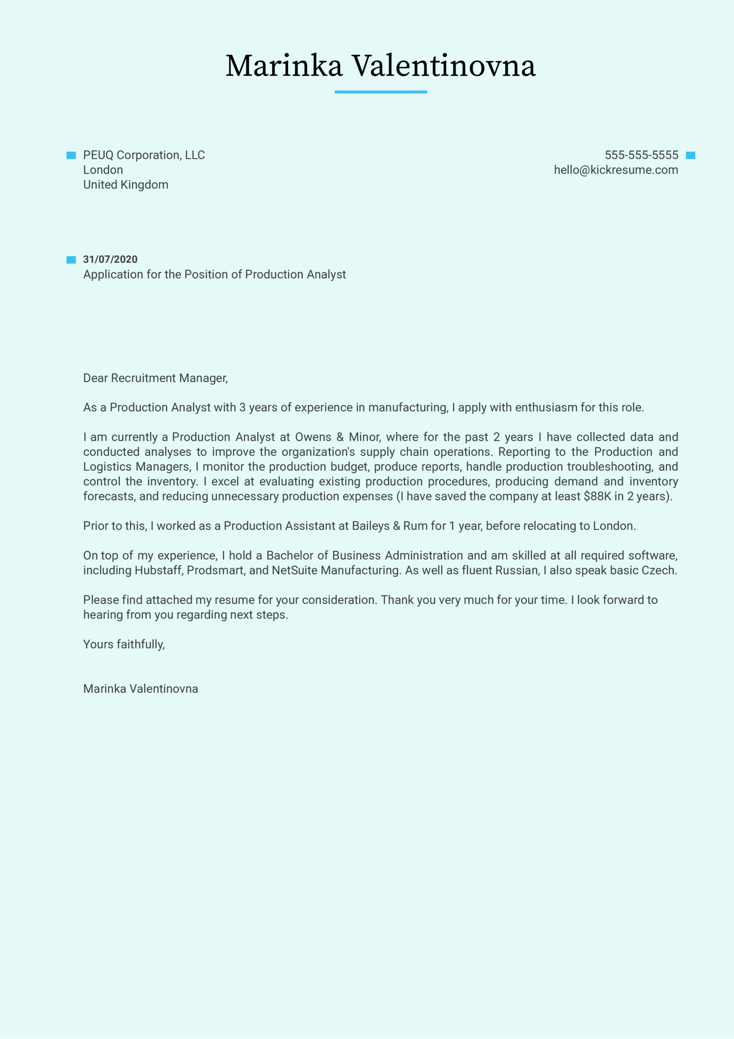 Production Analyst Cover Letter Sample