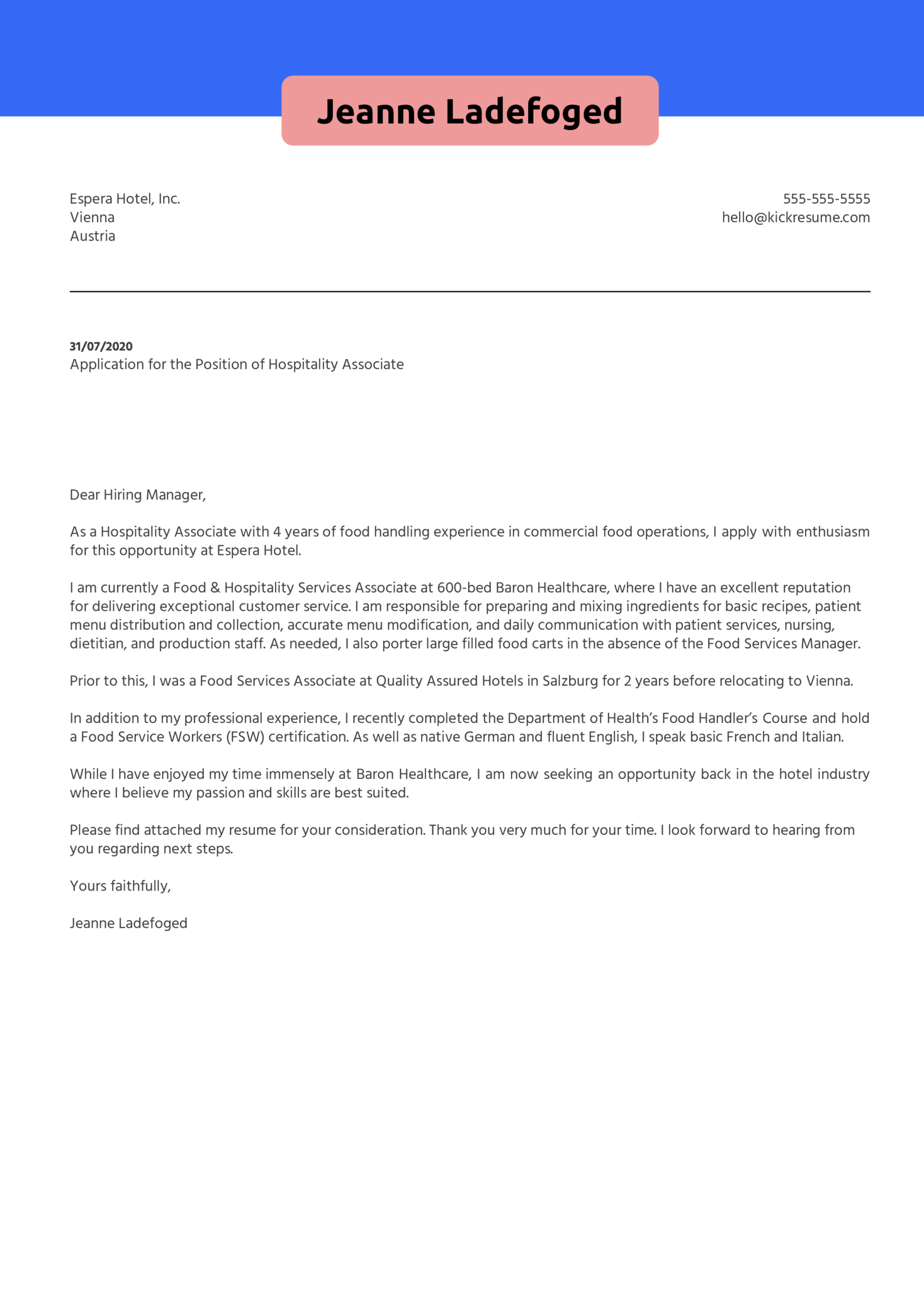 Hospitality Associate Cover Letter Example