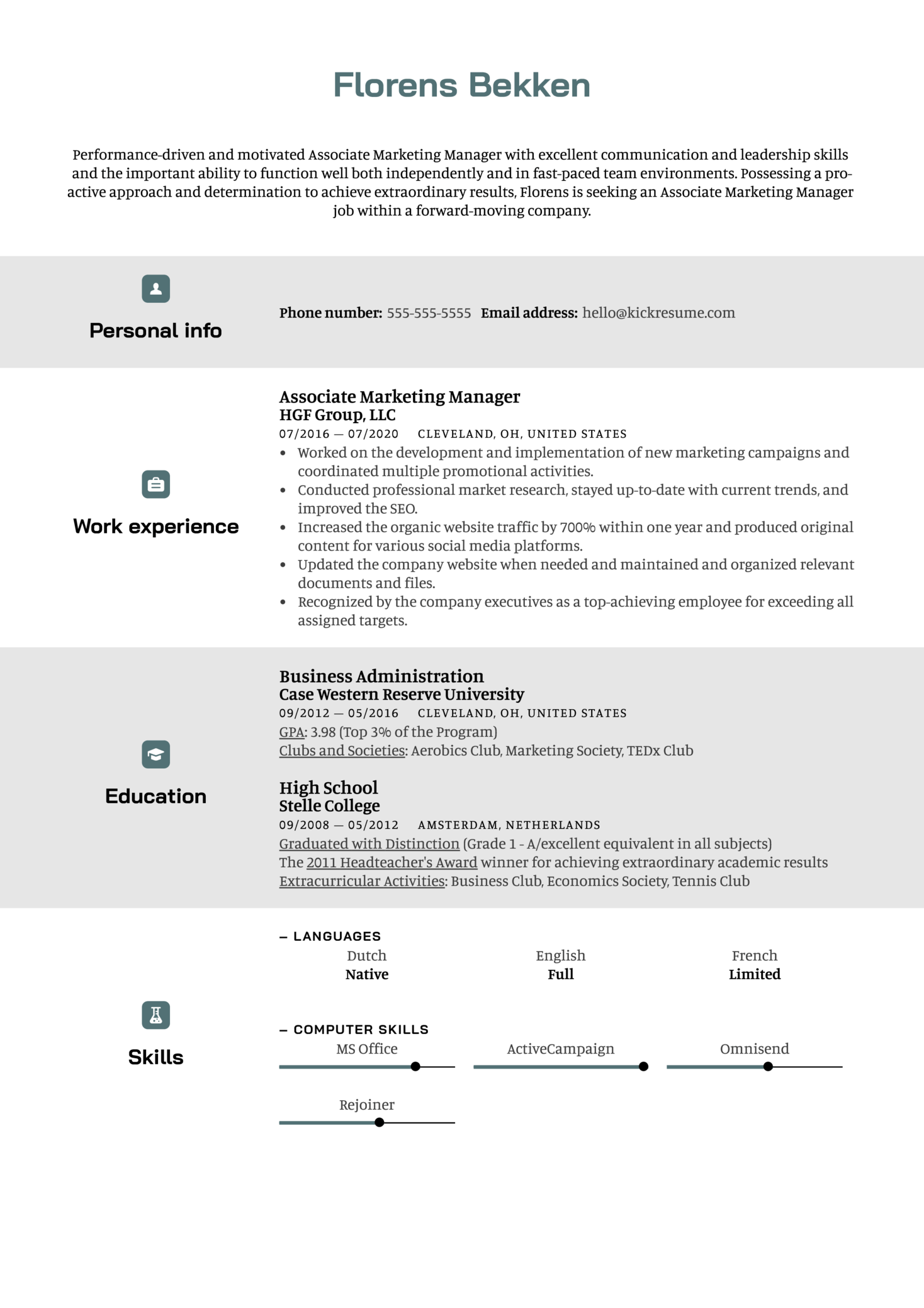 Chronological Resume Template (Part 1)