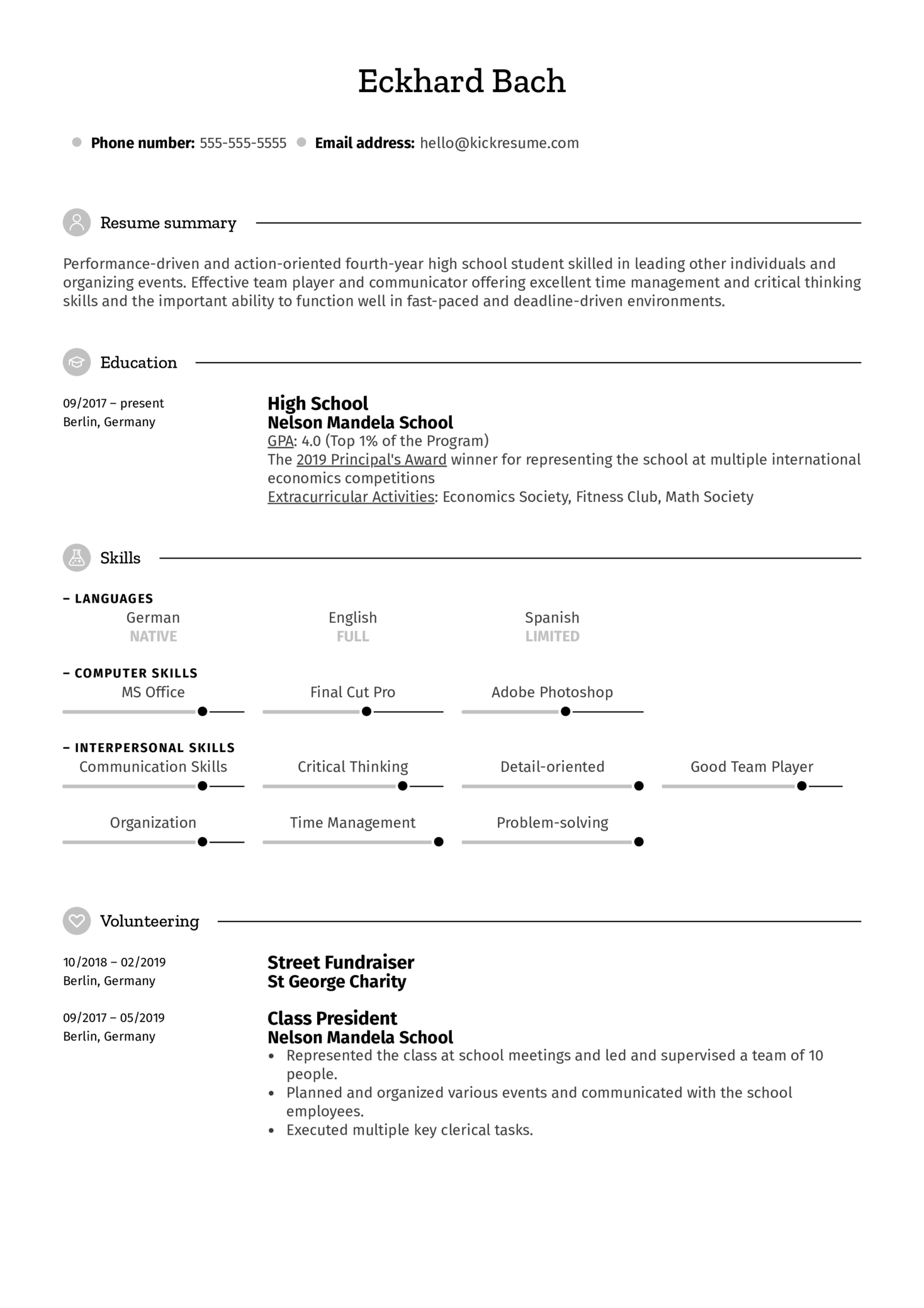 CV Template for the First Job  (Part 1)