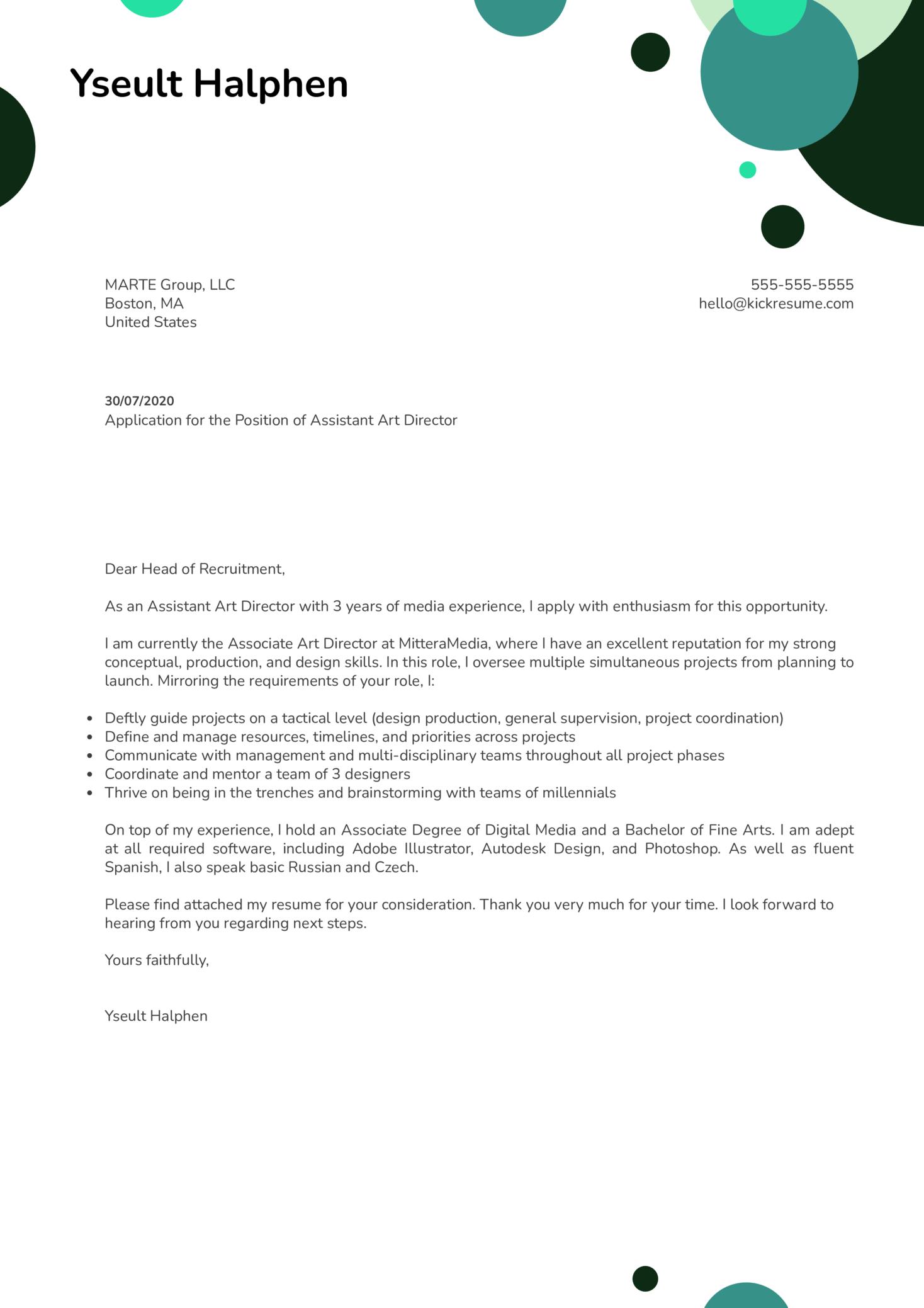 Assistant Art Director Cover Letter Sample