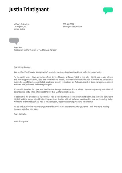 Food Service Manager Cover Letter Sample