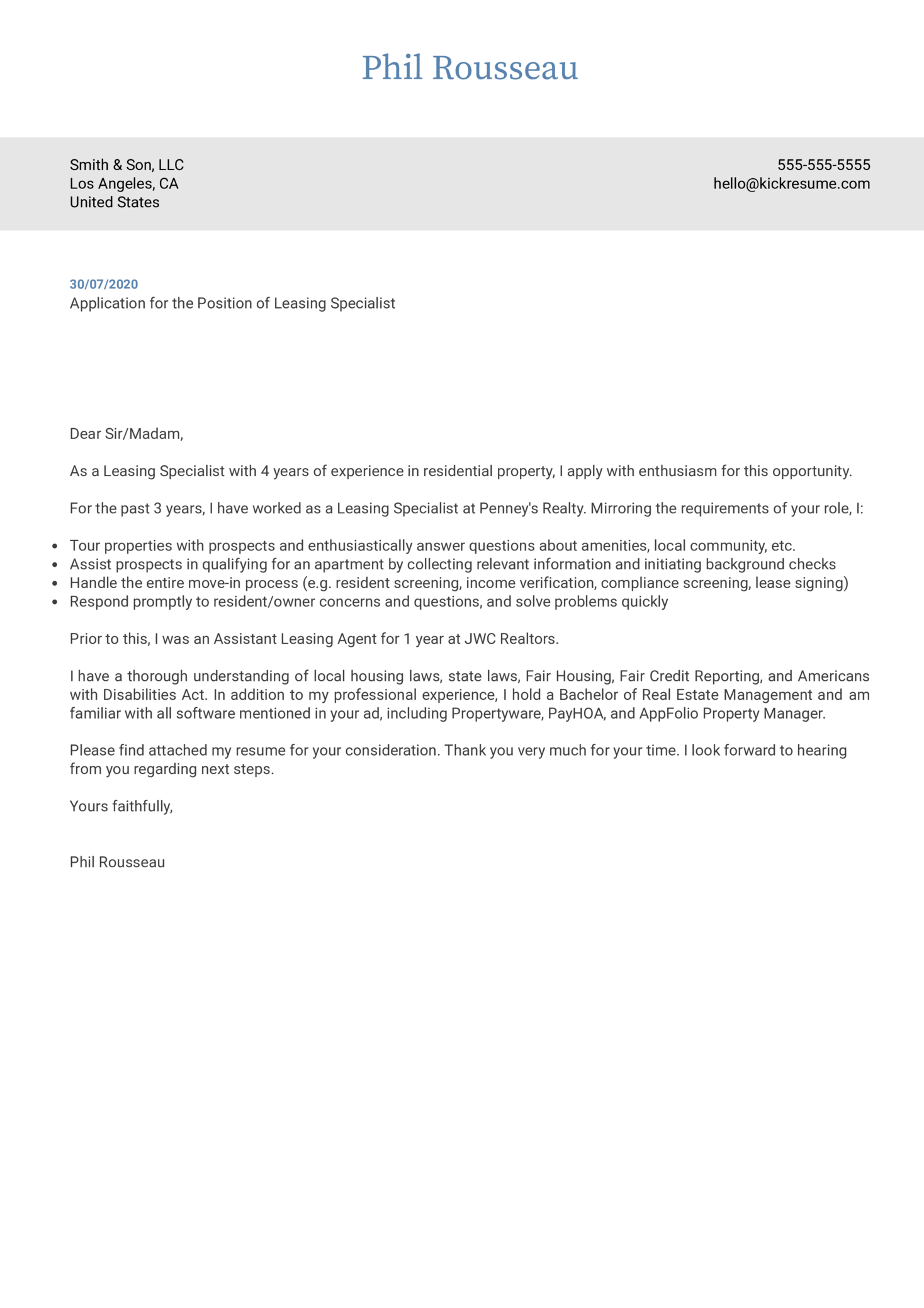 Leasing Specialist Cover Letter Sample