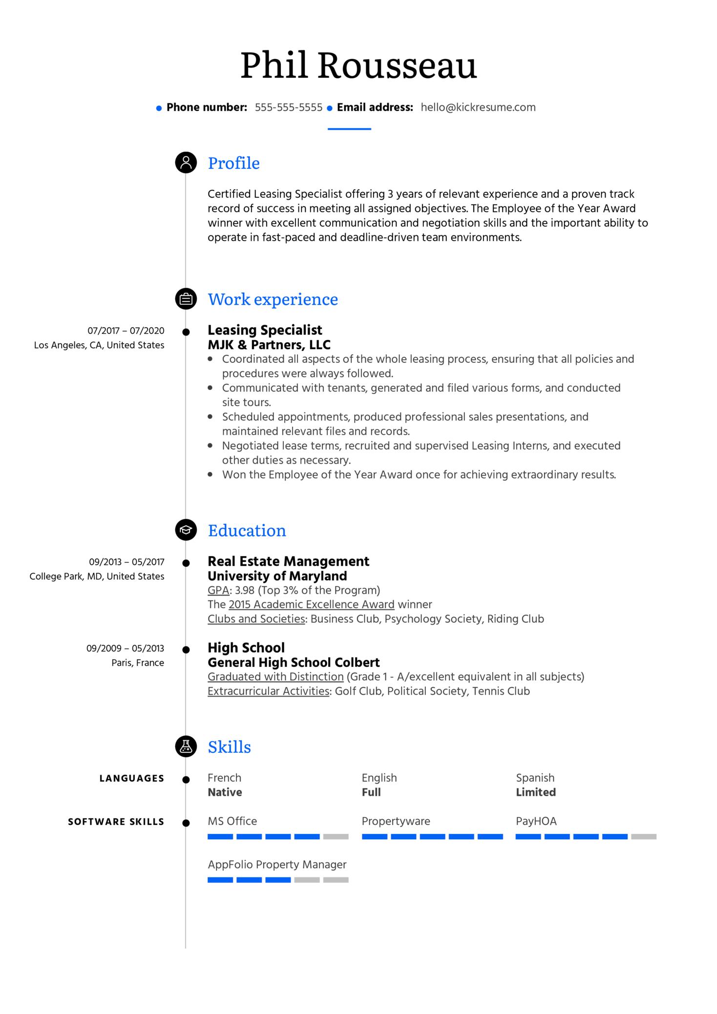 Leasing Specialist Resume Example (parte 1)