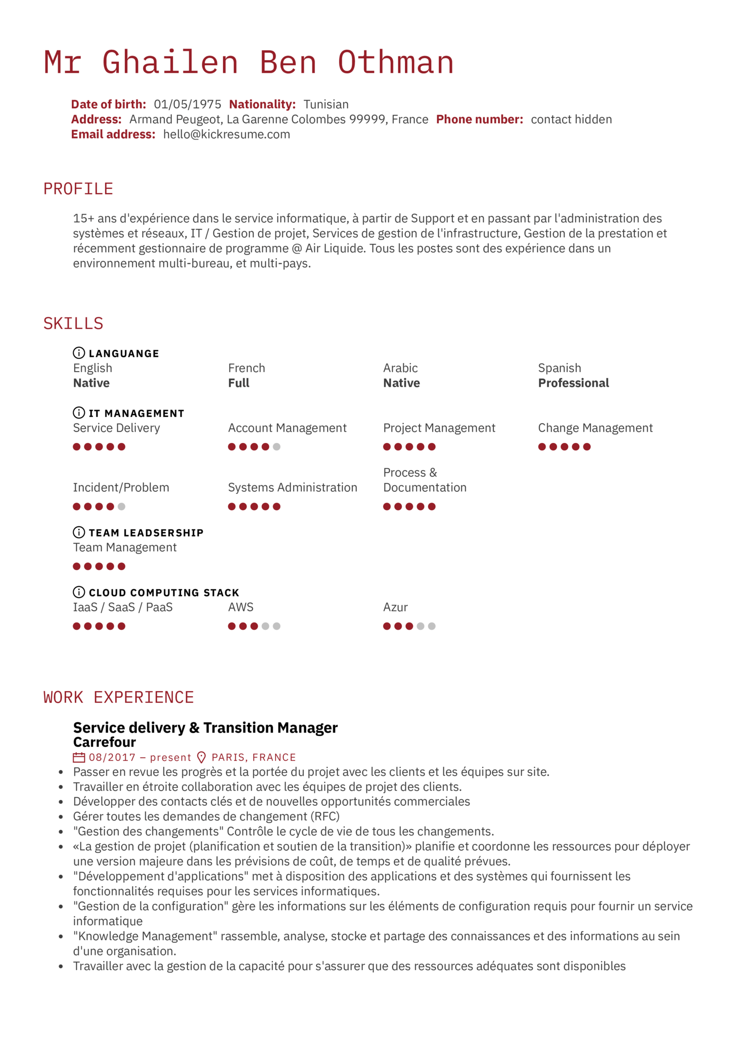 Carrefour Service Delivery Manager Resume Example (Part 1)