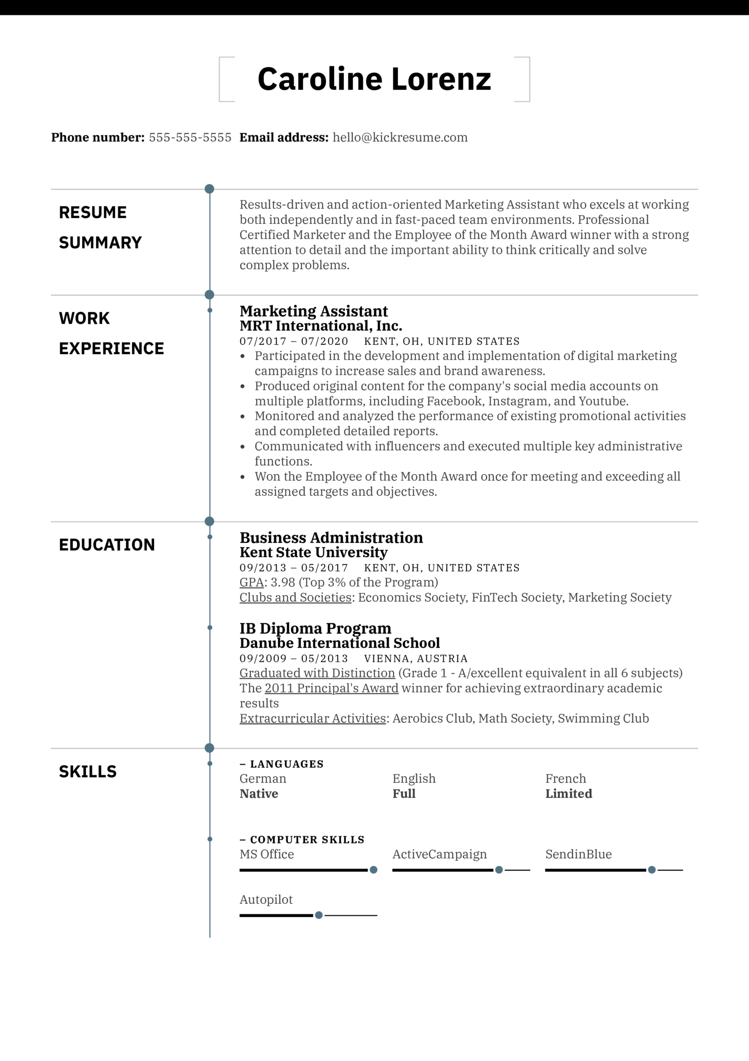 Professional Resume Example (Part 1)