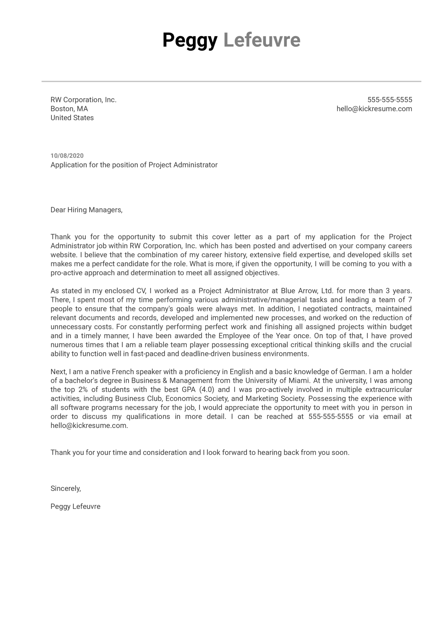 Project Administrator Cover Letter Example