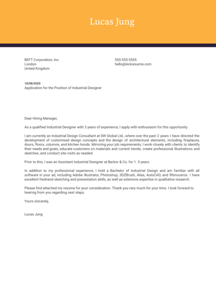 Industrial Designer Cover Letter Example