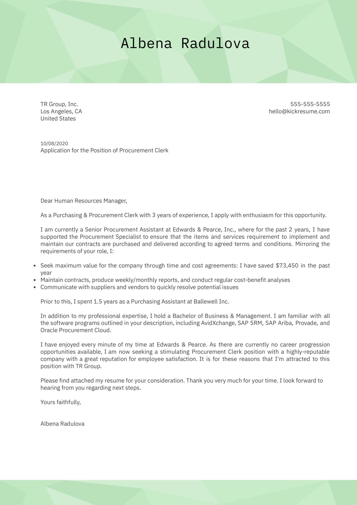 Procurement Clerk Cover Letter Example