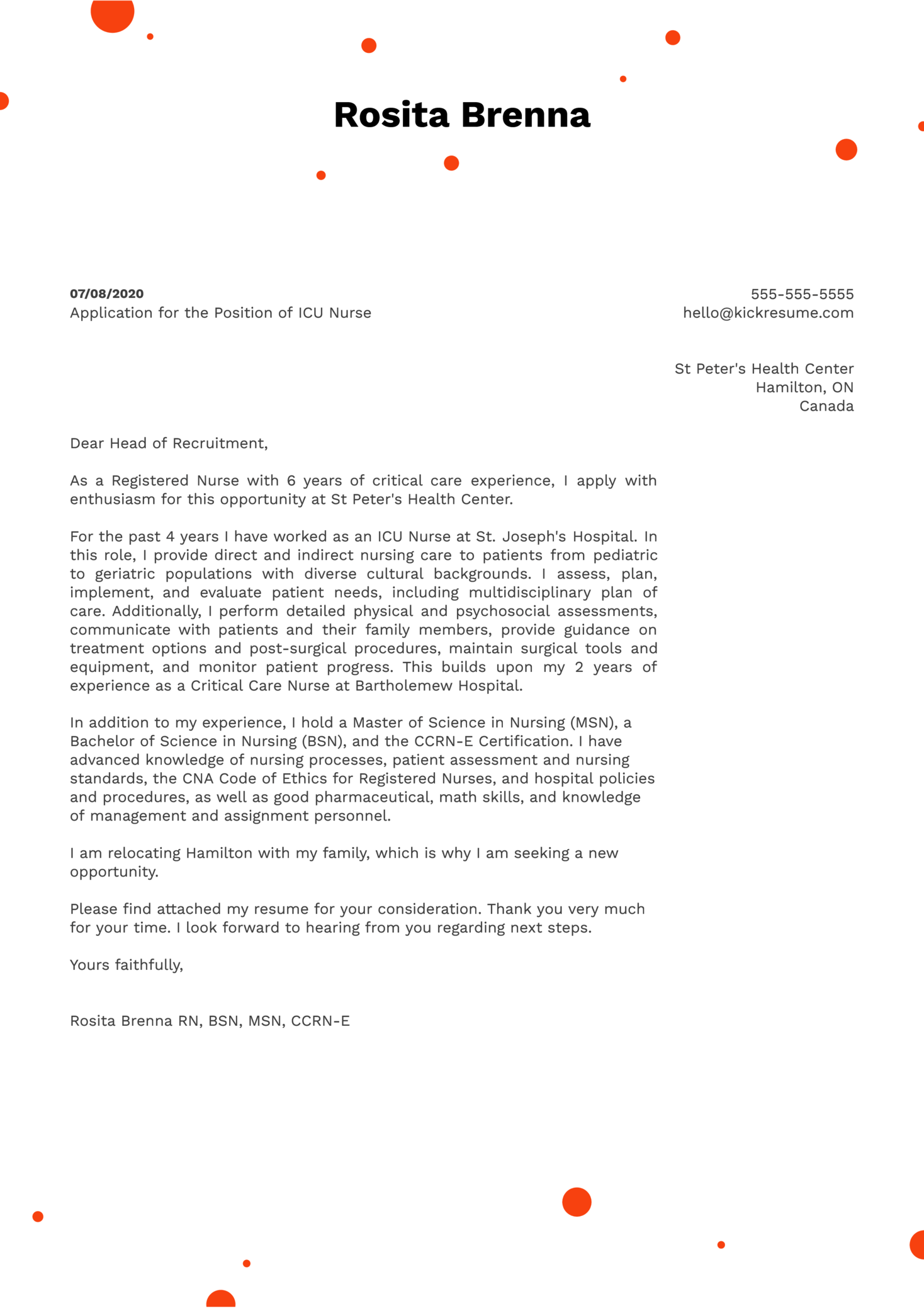 ICU Nurse Cover Letter Sample