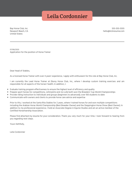 Horse Trainer Cover Letter Example
