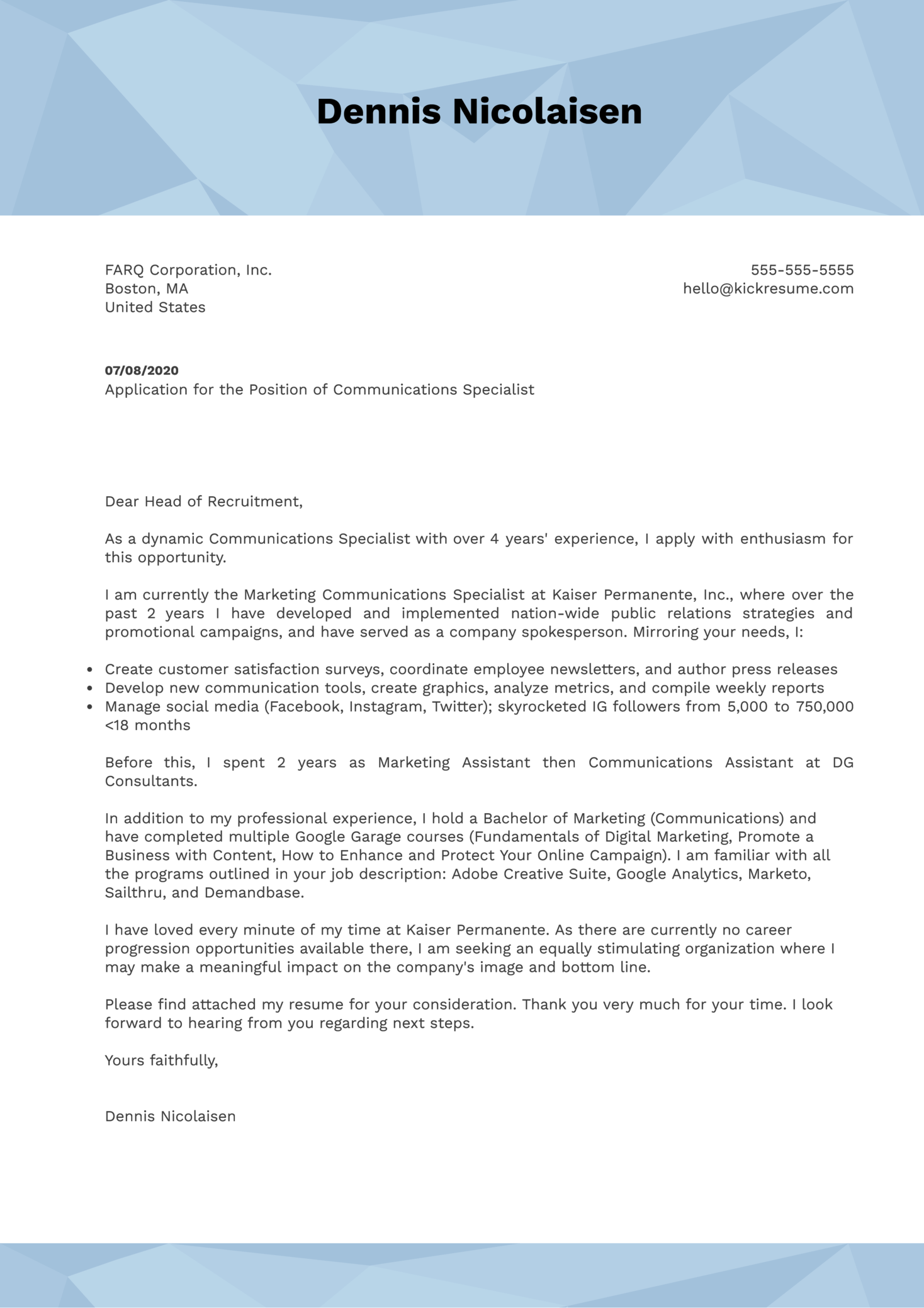 Communications Specialist Cover Letter Example