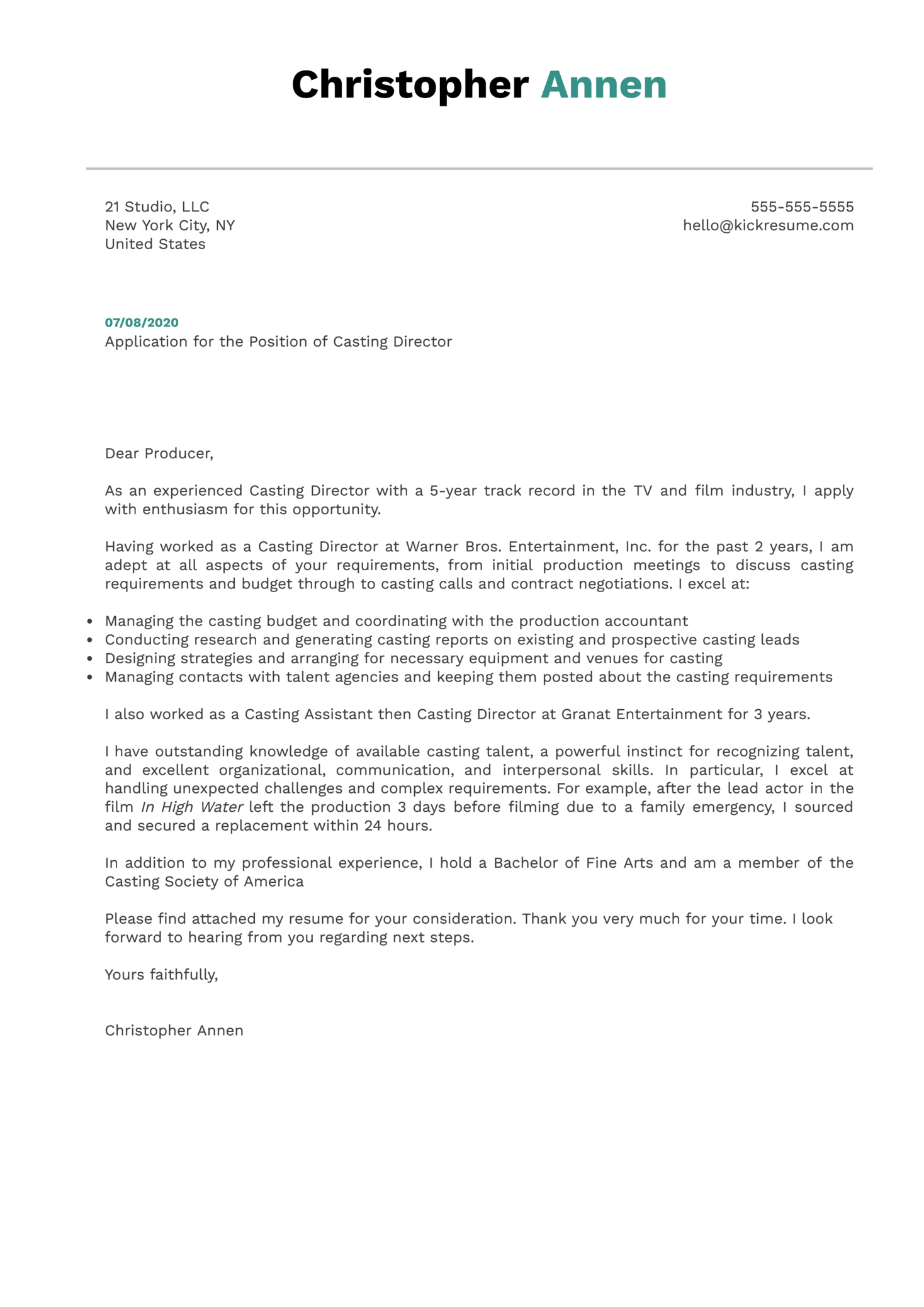 Casting Director Cover Letter Example
