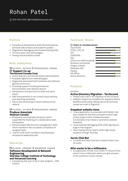Sheridan CollegeTeacher's Assistant - Java Intern Resume Example