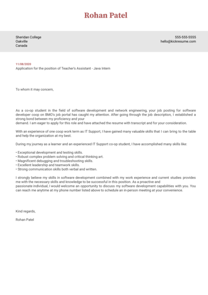 Sheridan CollegeTeacher's Assistant - Java Intern Cover Letter Example