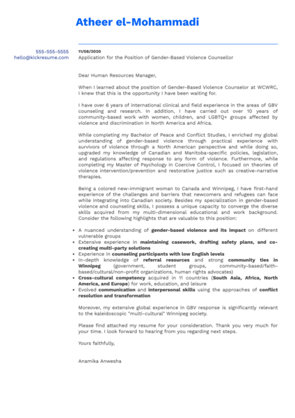 Counsellor Cover Letter Example