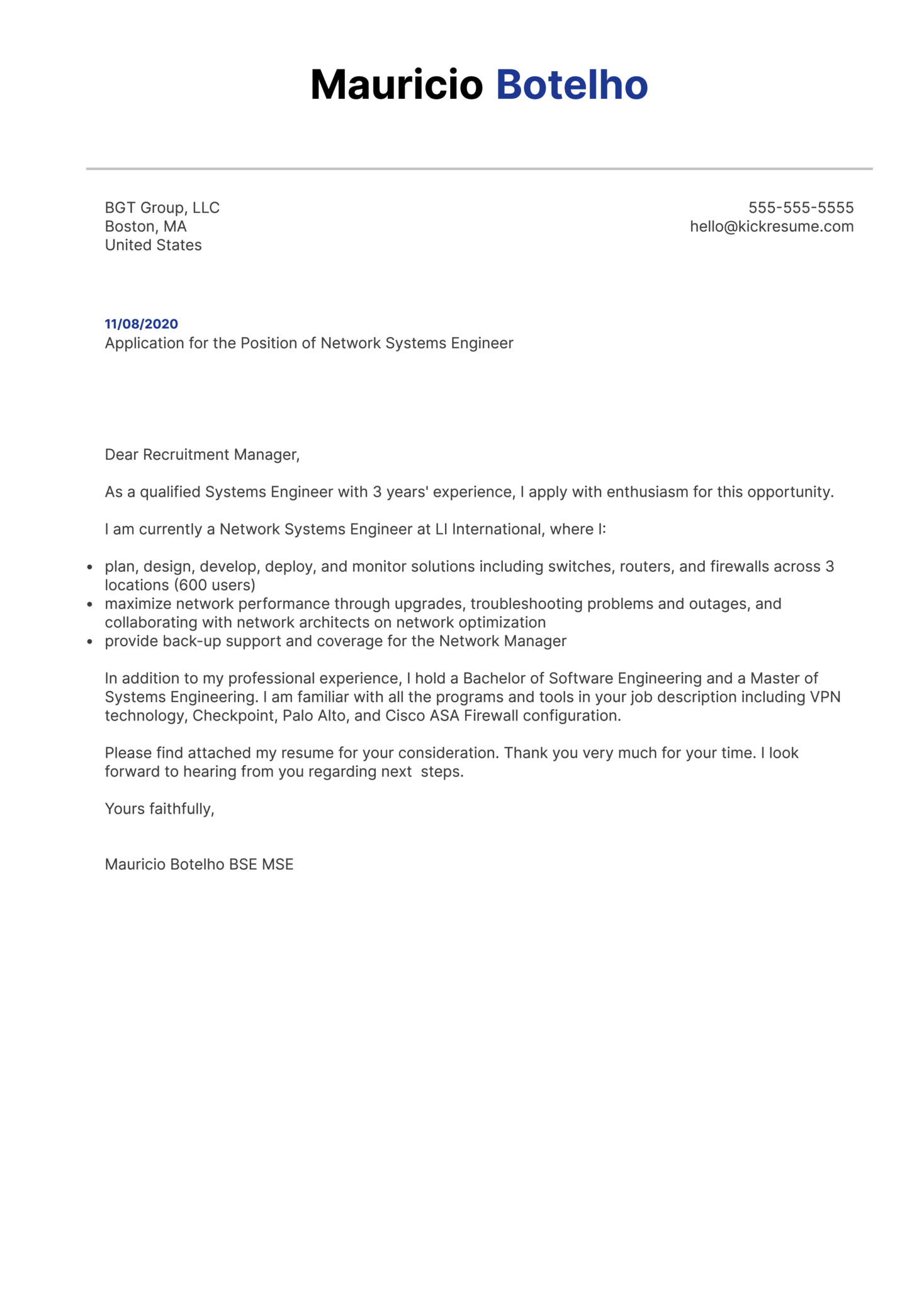 Network Systems Engineer Cover Letter Sample