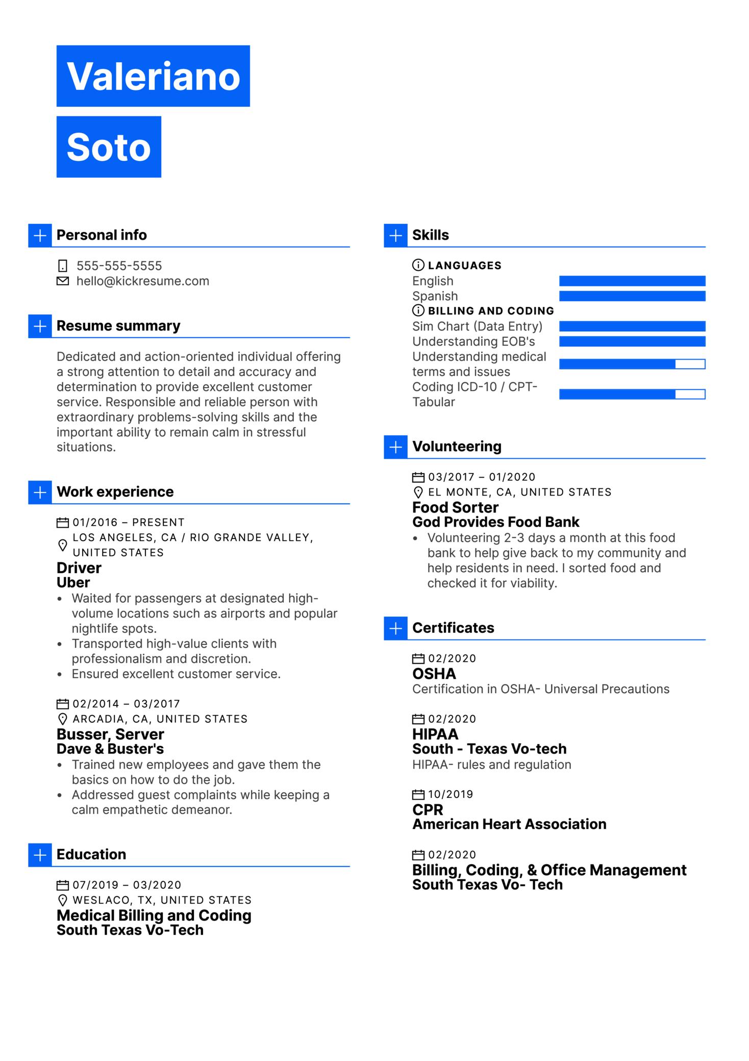 DoorDash Driver Resume Example (parte 1)