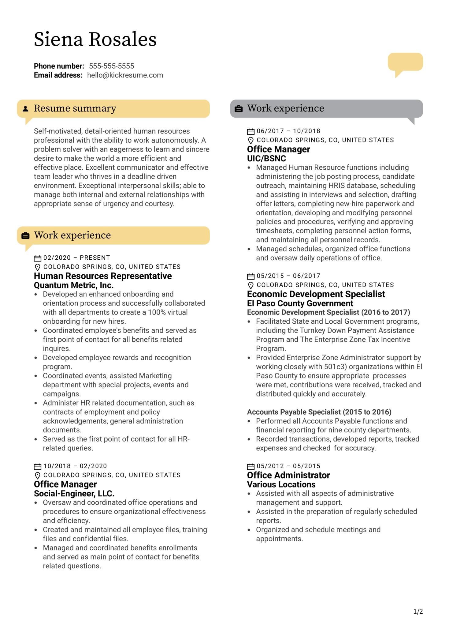 HR Representative Resume Example (časť 1)
