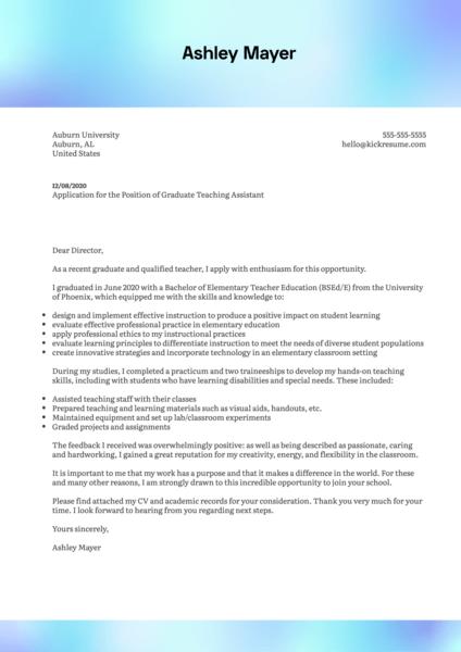 Auburn University Graduate Teaching Assistant Cover Letter Example