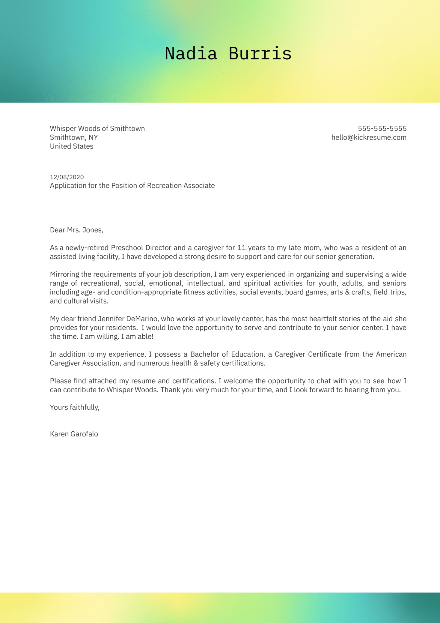 Recreation Associate Cover Letter Example
