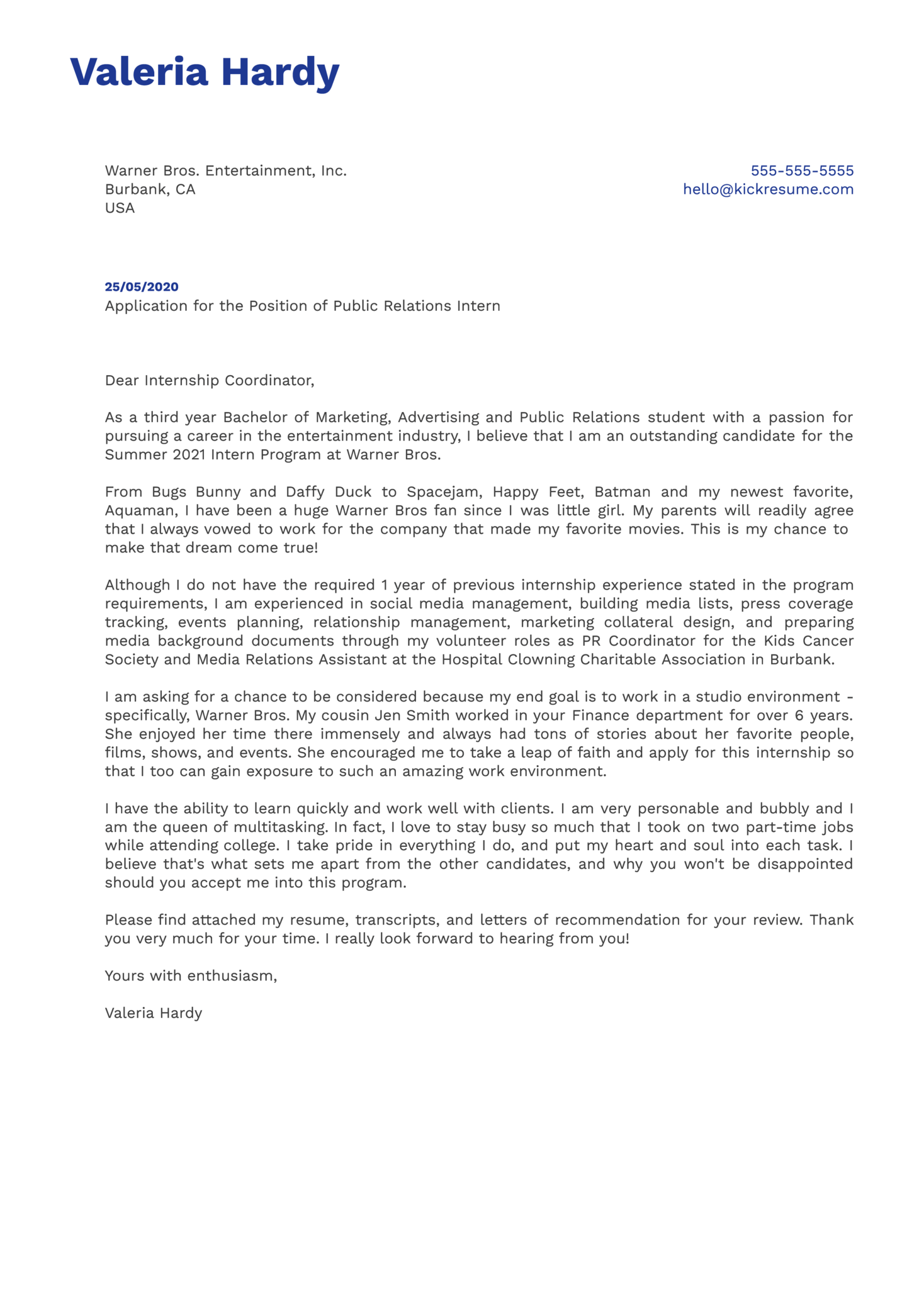 Warner Bros. Public Relations Intern Cover Letter Example