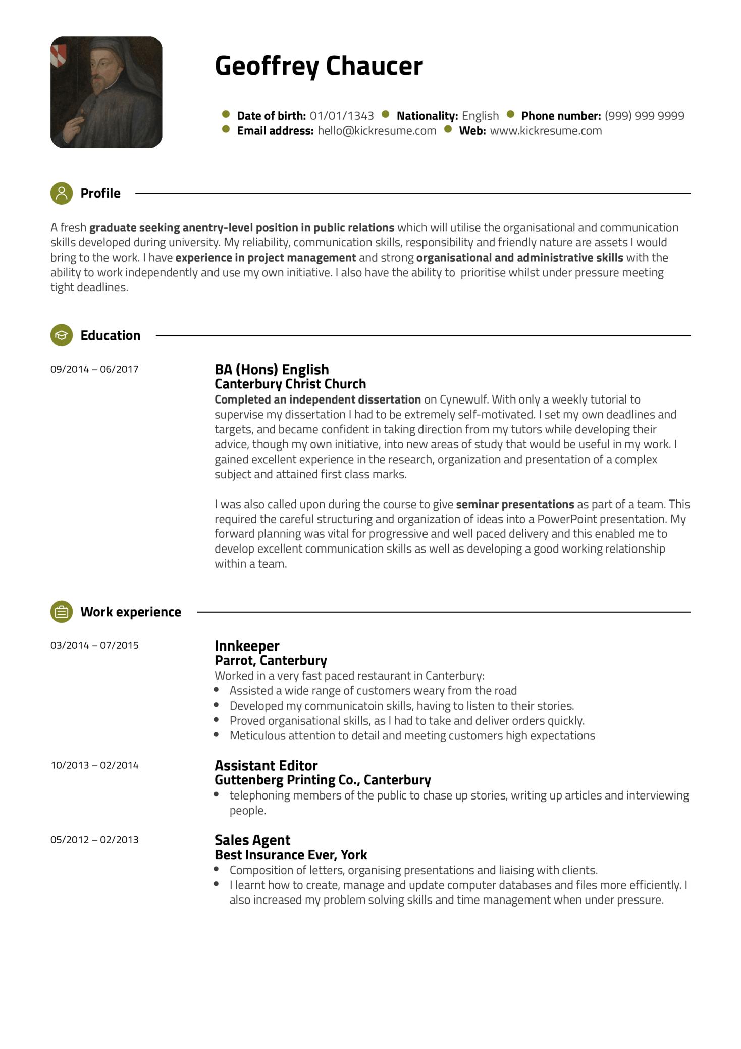Student Resume Sample Public Relations (Part 1)