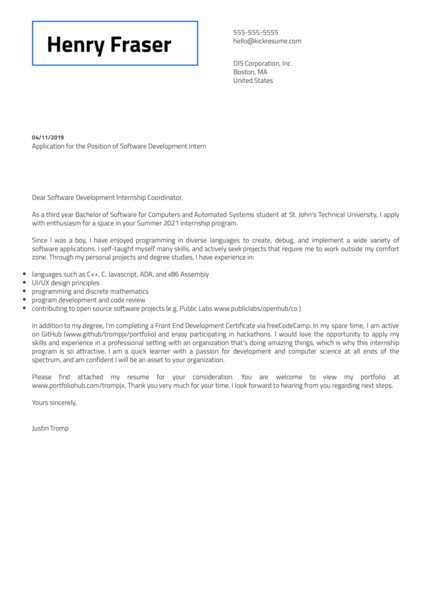 DIS Software Development Intern Cover Letter Example
