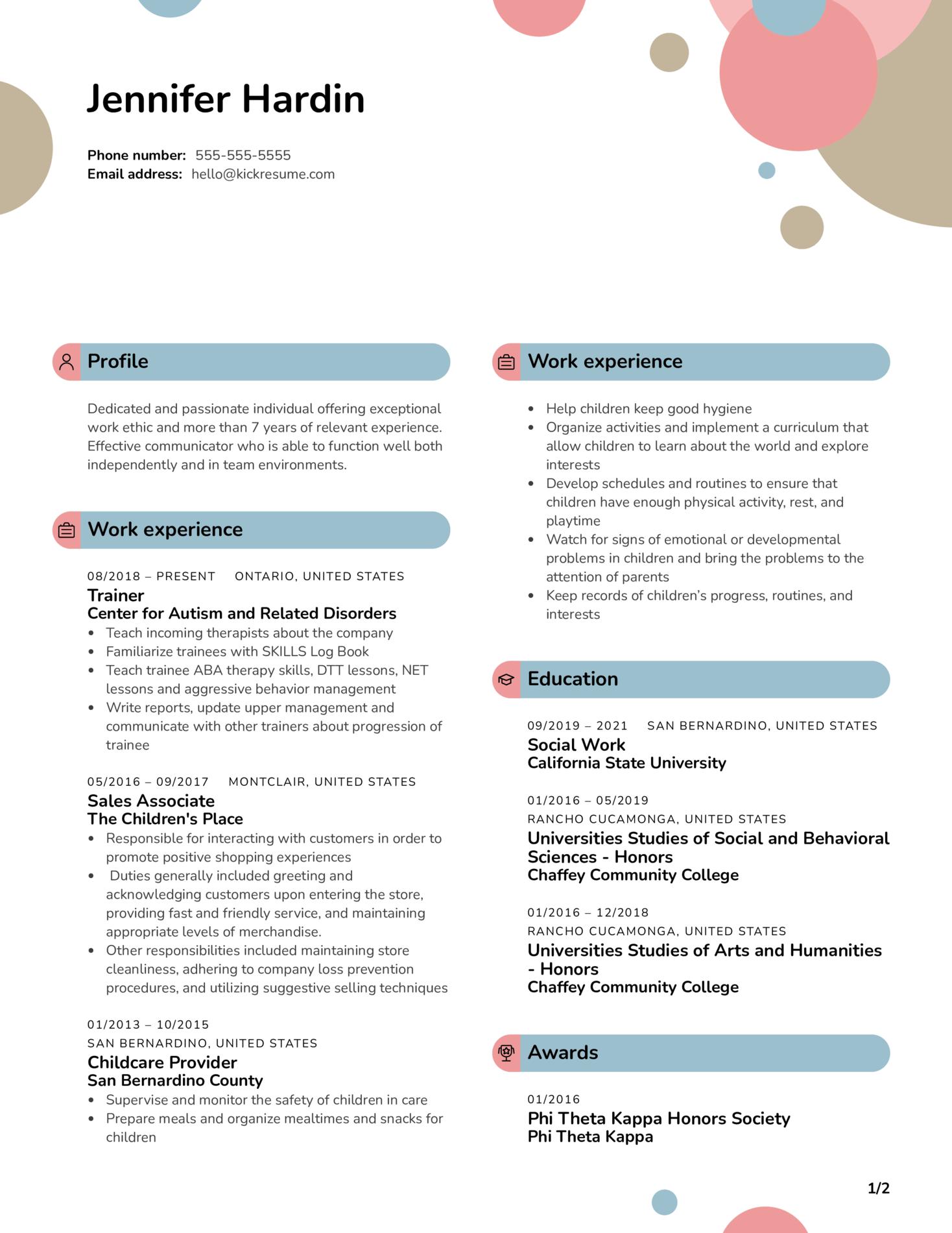Social Work Intern Resume Example (Part 1)